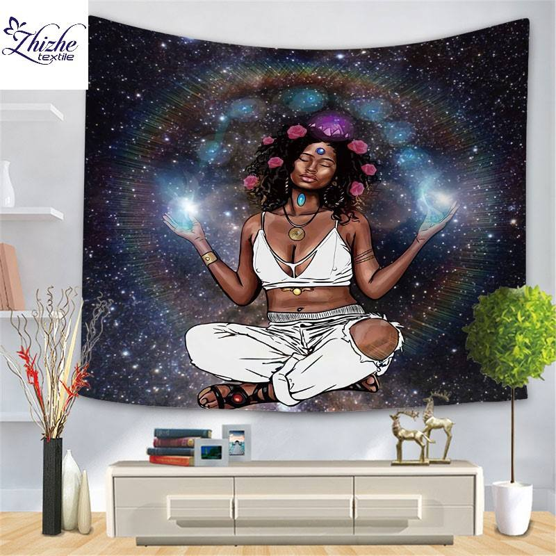 3D style black girl printed Tapestry 59'' X 82.6'' inch