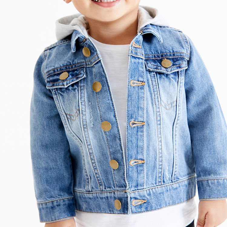 Fashion children long sleeve outerwear cotton denim hoodie boys jean jackets kids jackets