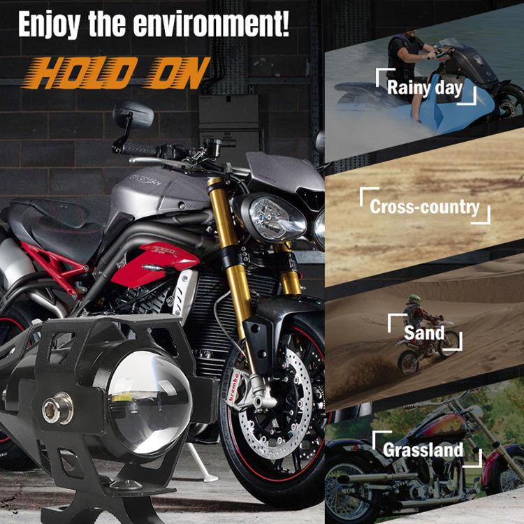llave peque/ña Qiilu Faro de la motocicleta foco,12v-60v 6000k Aleaci/ón de aluminio Faro de la motocicleta Con soporte de montaje