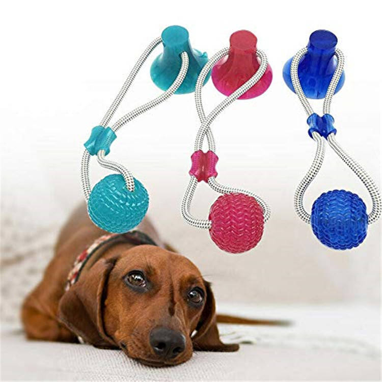 Dog Toy Suction cup Interactive fun Pet toy with TPR ball Pet Tooth Bite /Chewing/Playing dog ball toy
