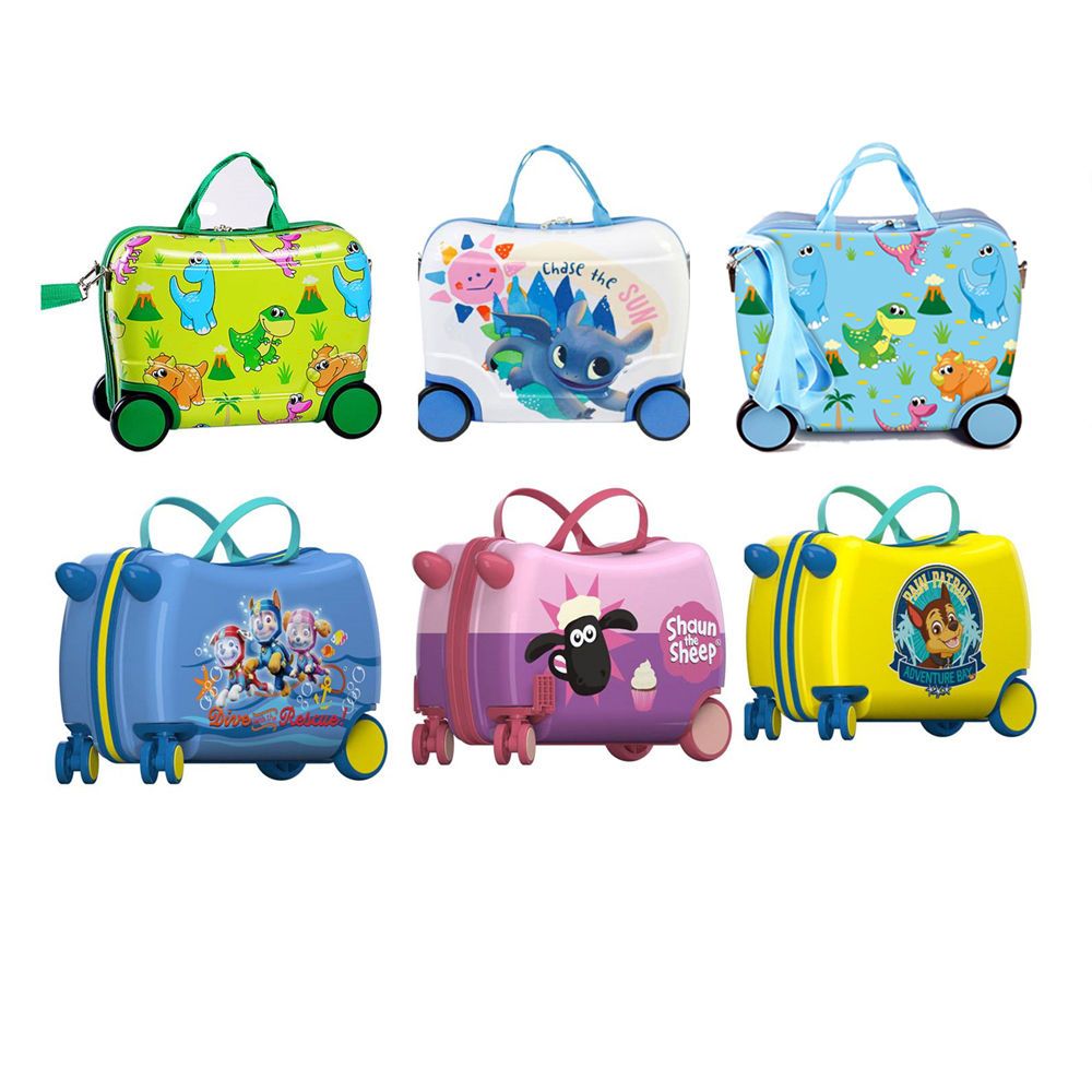oem manufacture cartoon best quality abs 4 wheels travelling16inch kids ride on luggage