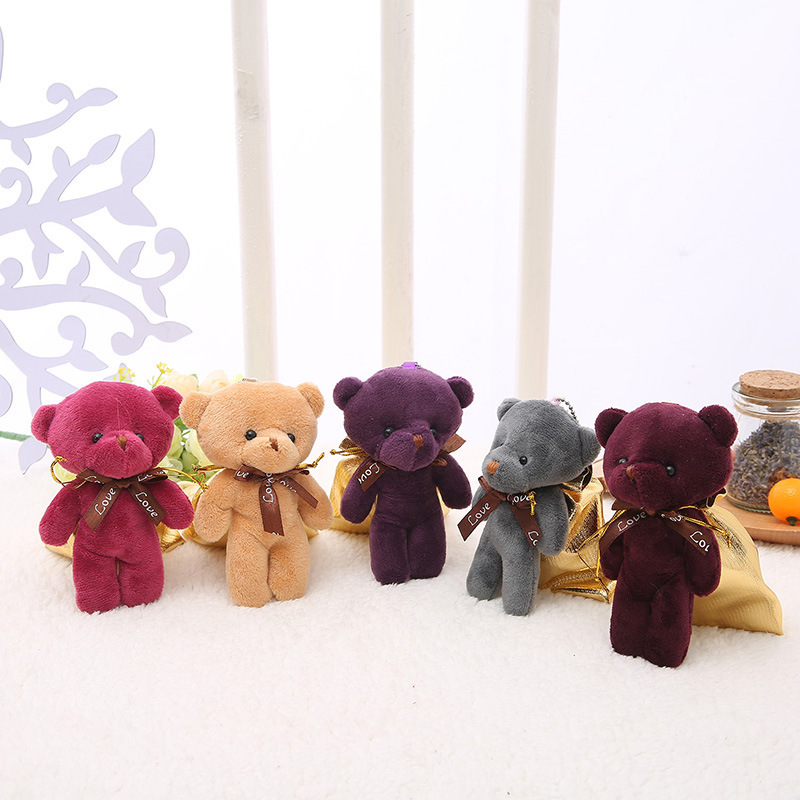 Various Colorful 10cm Plush Toy Mini Teddy Bear Keychain Wholesale Custom Kids Cartoon Stuffed Animal Soft Plush Mini Teddy Bear