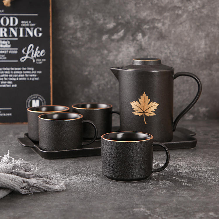 Wholesale luxury golden leaf frosted matte glazed black ceramic coffee tea set with tray
