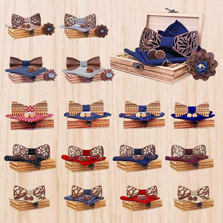 Classic Handmade Mens Wooden Bow Tie with Matching Pocket Square and Men's Cufflinks Sets Boxes