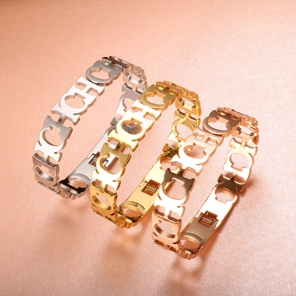 12MM High Polished Stainless Steel Hollowed Cut Alphabet Letter CH Bracelet Bangle for Women Jewelry