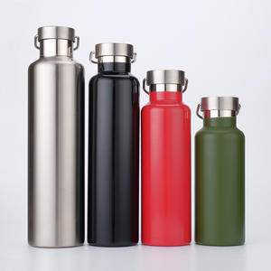 YIWU COOL Custom LOGO Double Wall Stainless Steel Insulated Water bottle Vacuum Flask with Carabiner 350/500/600/750/1000ml