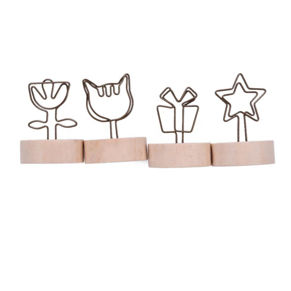 Wholesale cheap memo name card picture creative round wooden iron photo clip
