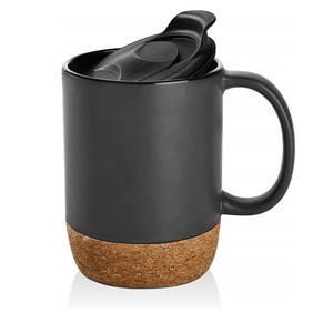 Matte Black Ceramic Mug (12 Ounce) with Built-in Cork Coaster and Splash-free Lid and Handle for Cup of Coffee and Tea, Personal