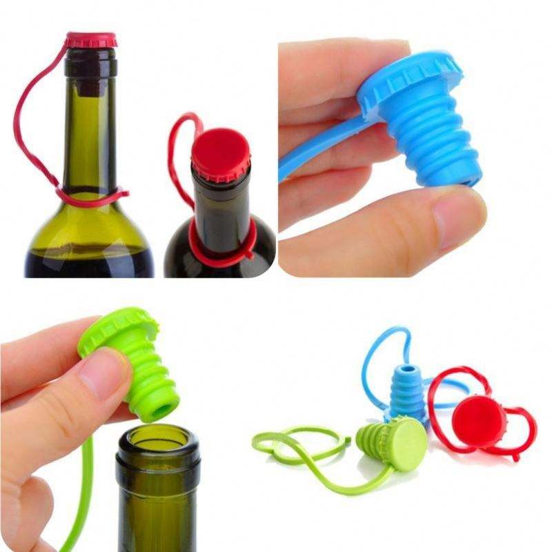 Kitchen Anti-lost Silicone Hanging Button Seasoning Beer Wine Cork Stopper Plug Bottle Cap Cover Perfect Kitchen Tools 1 Pc