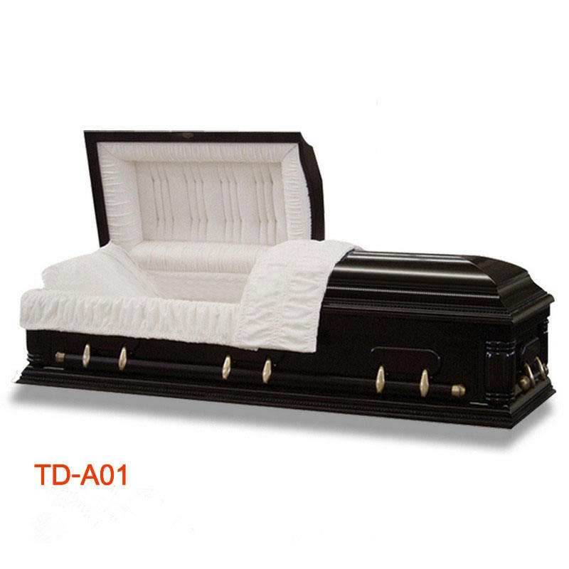 TD-A01 solid wood American style casket with velvet interior