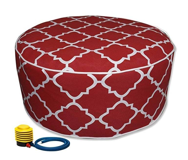 PVC Inflatable Pouf Chair Fabric Seat Waterproof Pouf Outdoor Ottoman Pouf