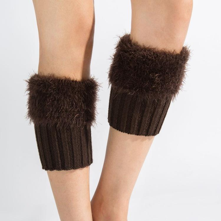 New Fashion Winter Big Size Faux Fur Knitted Warm Boot Foot Cover Acrylic Leg Warmer Wool Leggings Turn-over Feather Yarn Socks