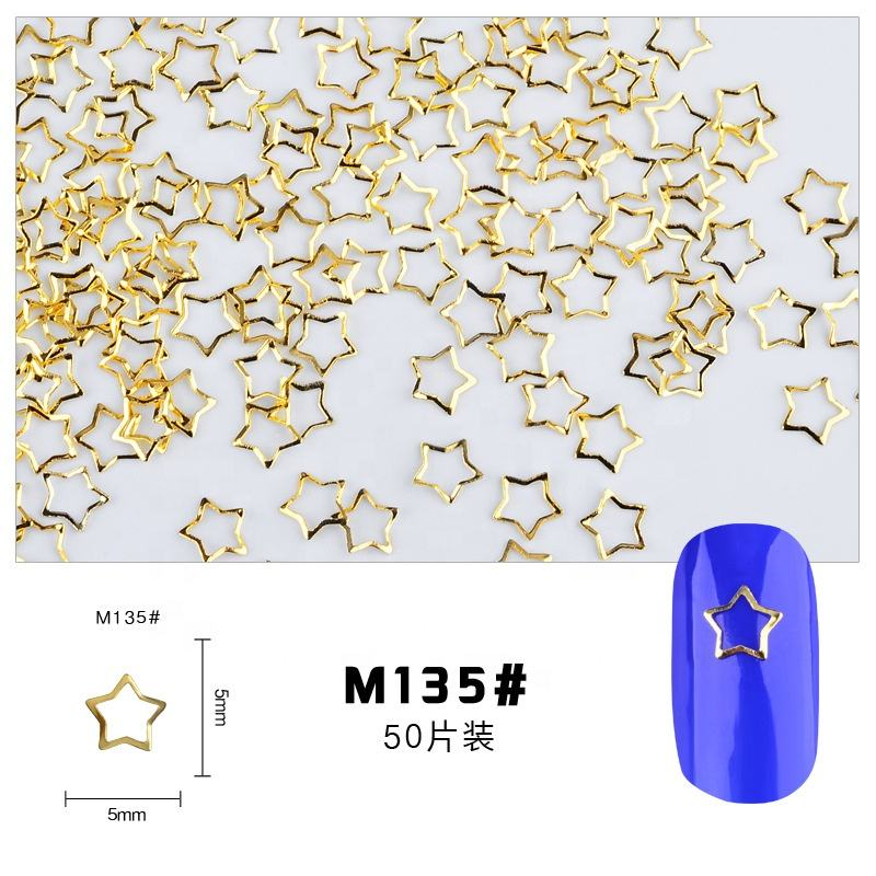 metal stud for nails Gold or Silver Nail Metallic Accessories 3D Metal alloy Nail Art Decoration ring circle Hollow out shape
