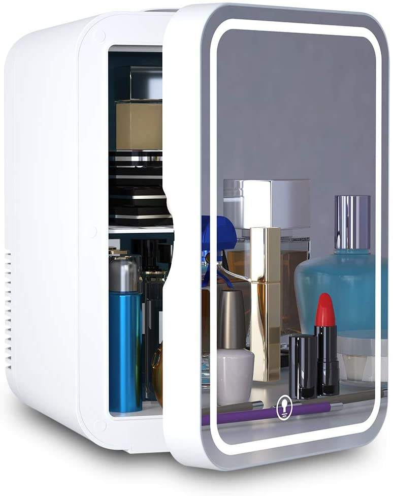 Mini Fridge 8 Liter AC/DC Portable Beauty Fridge Thermoelectric Cooler and Warmer for Skincare, Bedroom and Travel (Mirror & LED