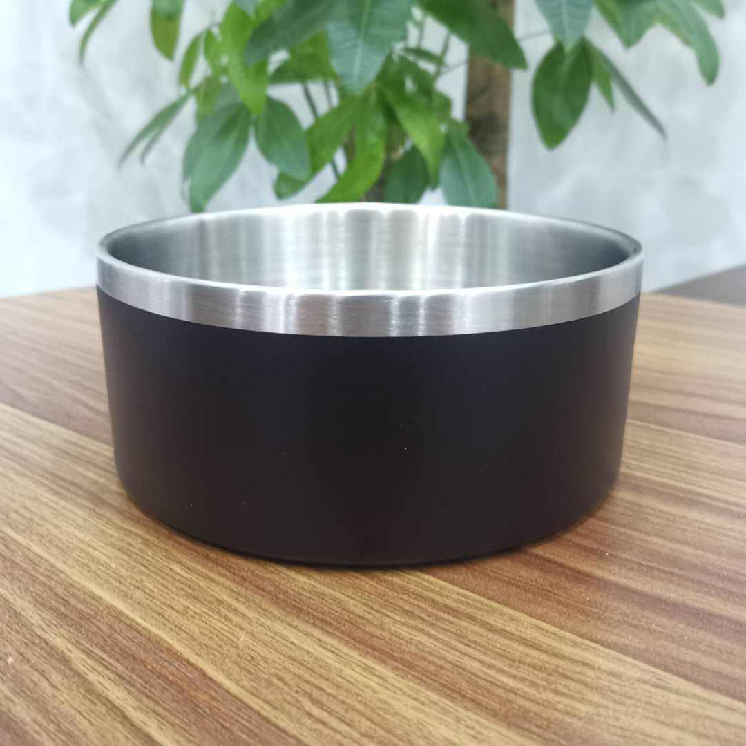 wholesale 32oz 64oz logo custom double wall stainless steel dog bowl dog food bowl powder coated pet dog feeding bowl with box