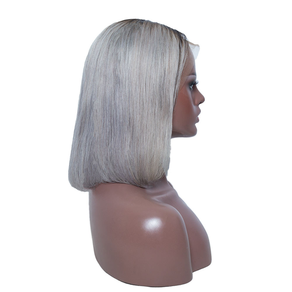 XBL short bob pre-plucked lace wig, ombre gray human hair Swiss lace front wigs,wholesale cheap silk base glueless bob wig