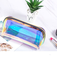 Custom Personalized Waterproof Glitter Cosmetic bag Zipper Pouch Holographic bag PVC Makeup Bag