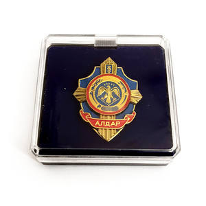 luxury gift mongolia military eagle wing shape enamel metal lapel pin rhinestone coat of arms for souvenir