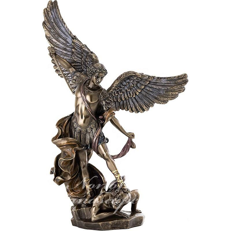 Al aire libre jardín decorativo grande tallada latón bronce San Miguel Arcángel escultura para venta