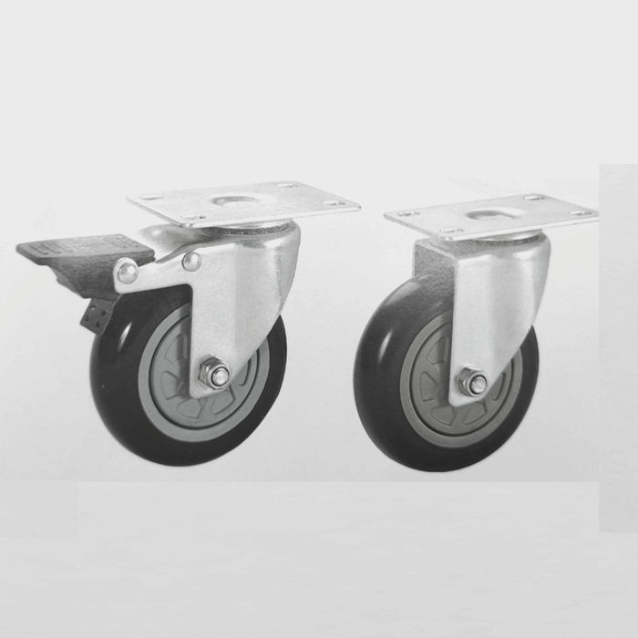 High Quality Hot Sale Medium Duty 75mm Steel PU PVC Wheel Brake Caster