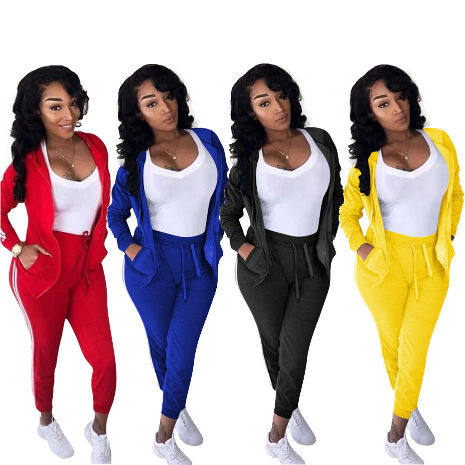 Plus Size Women 2 Piece Set Tracksuits Solid Color Hooded Sportswear Women Clothing Two Piece Set