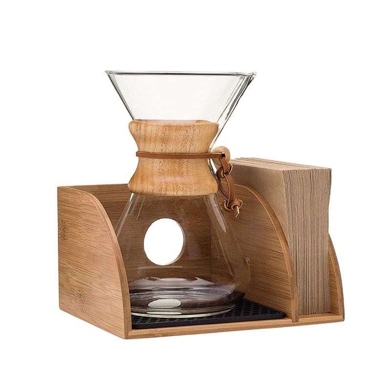 Eco-friendly Durable Water Resistant Bamboo Coffee Maker Organizer with Silicone Mat Filters