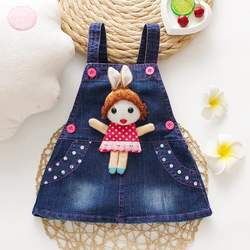 2020 Amazon Hot sales Toddler Baby Girl Summer Denim Dress Skirts Set Casual Clothes Set with Little Cute girls decorate