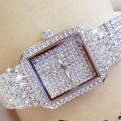 BS Wristwatch Luxury Crystal Women Dress Watch Fashion Rose