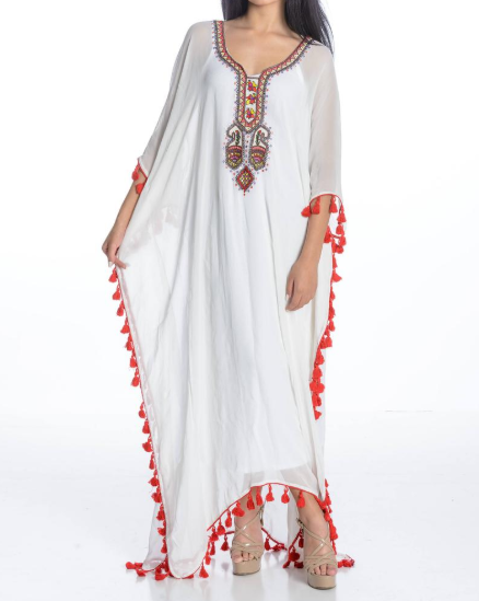 Wholesale trendy embroidery kaftan dress for women