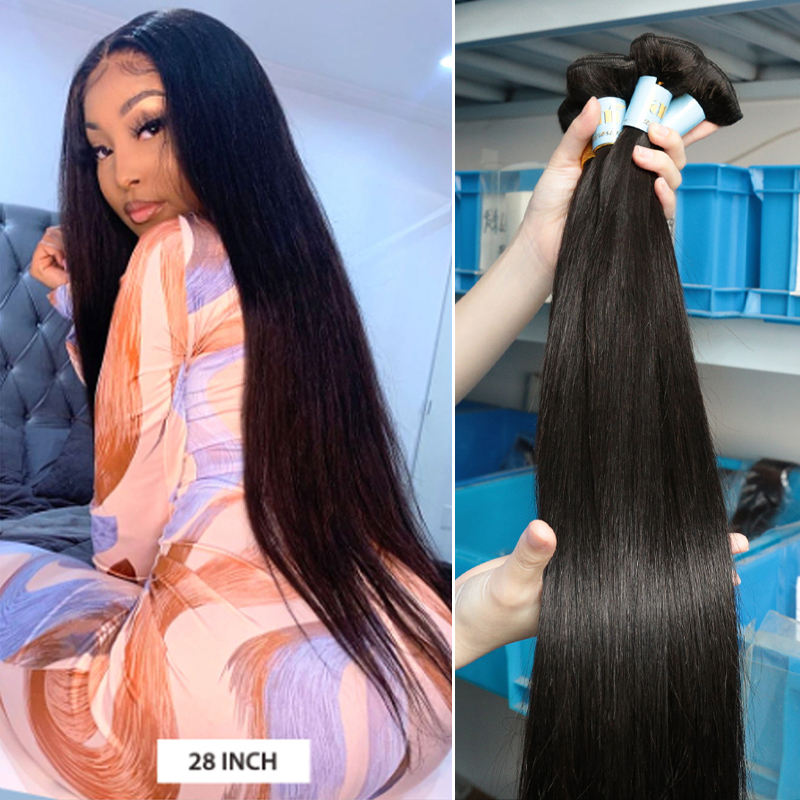 Top quality stock virgin brazilian human hair straight human hair bundles