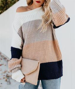2021 Autumn Winter Amazon New Striped Pullover Sweater Women Loose Oversized Rainbow Sweater