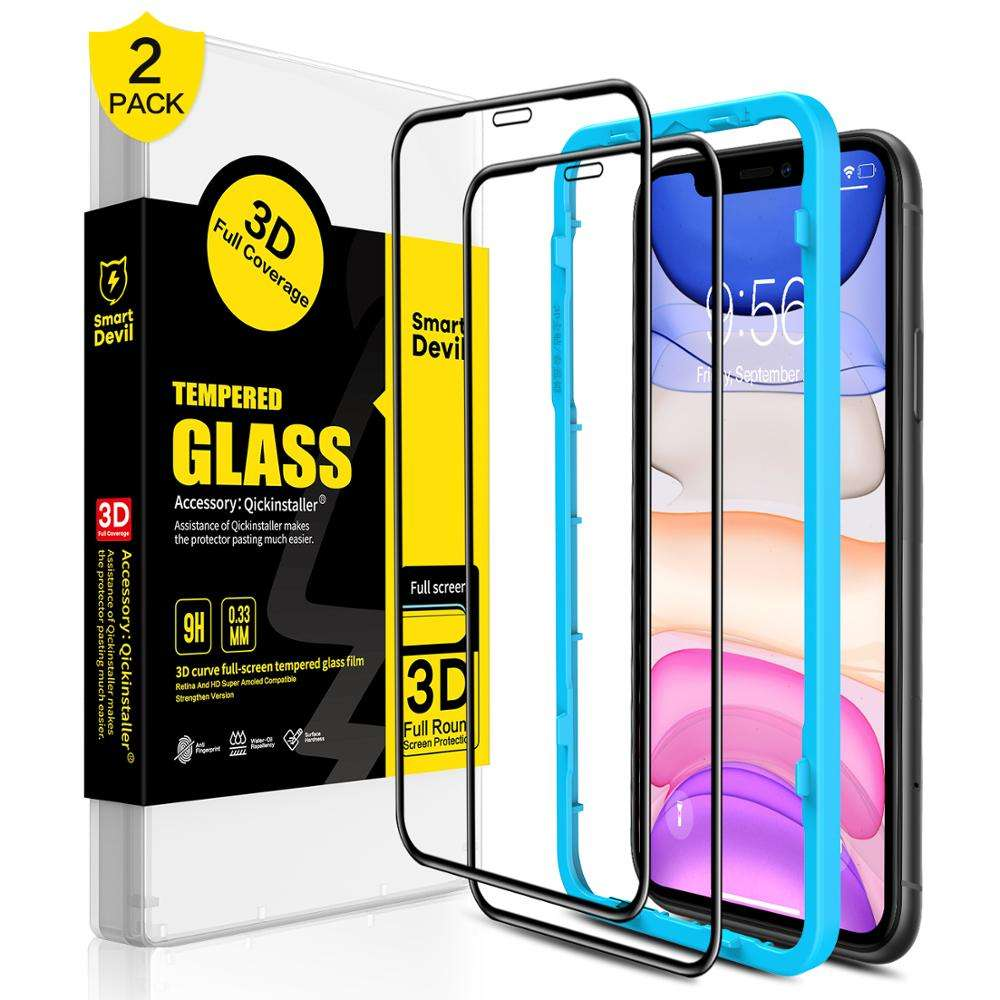 SmartDevil wholesale 0.33mm 9H mobile phone HD tempered glass 5D 9D full screen protector for IPhone 12 Easy Installation kit