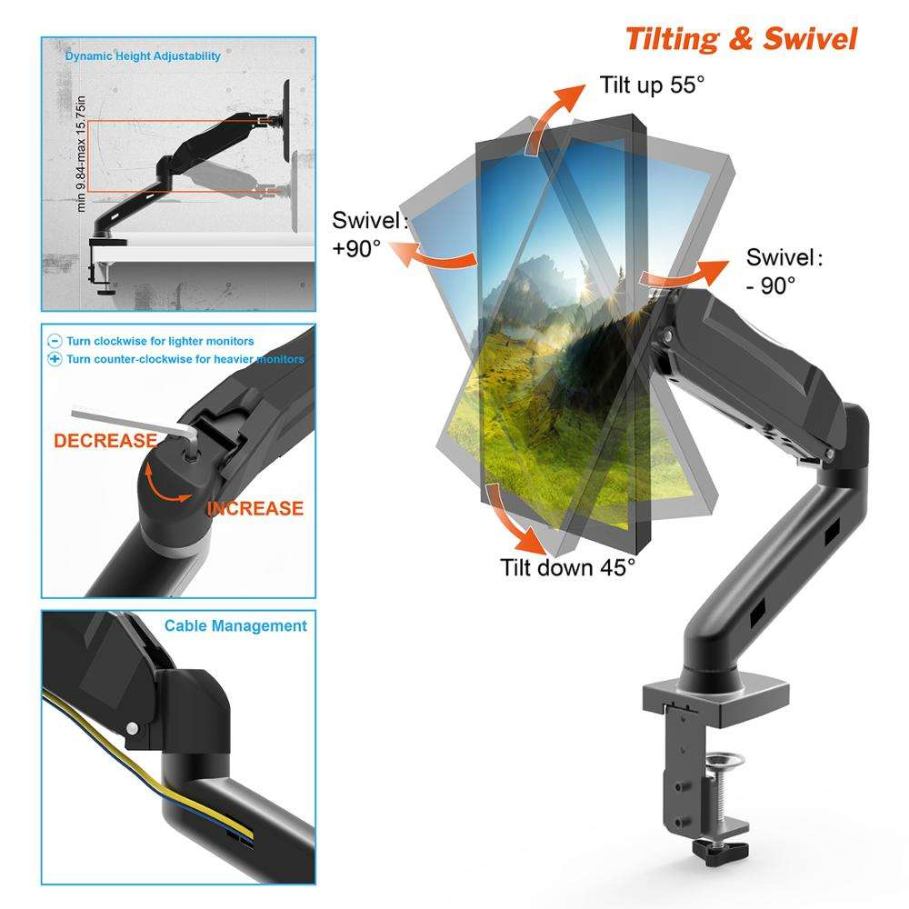 Gas spring swivel single arm monitor lcd desktop mount stand