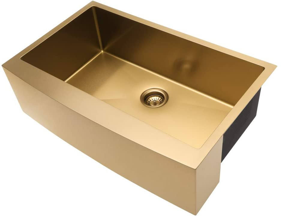 Farmhouse Sink Gold Kitchen Sink Apron Front 16 Gauge Matte Gold Stainless Steel Deep Single Bowl Farm Sinks