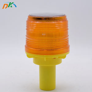 DK LED Solar Red Blue Flashing Outdoor Traffic Safety Warning Beacon Light