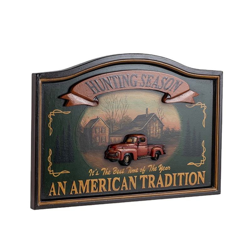 Antique Wall Pub Sign Wooden Wall Plaques Decorative Animal Wall Art Signs Resin Car