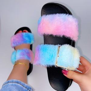 NEW Design Plush Fluffy Slippers for Women Fashion Tie dye Flat Faux Fur Slippers Slides Indoor Outdoor Ladies Sandals Shoes