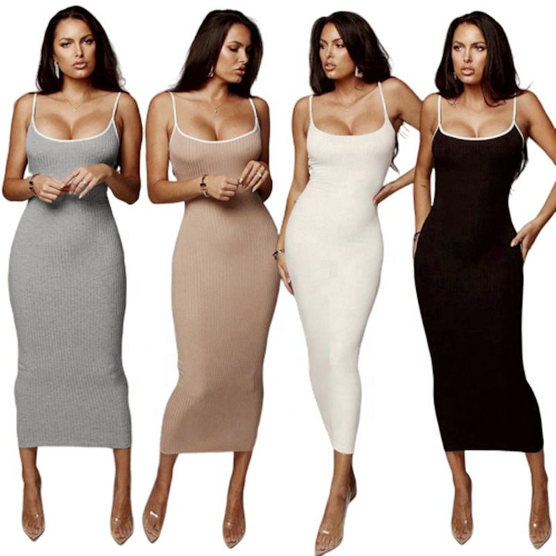 2020 Summer Knit Ribbed Long Maxi Bodycon Dress Casual For Women In White Black Pink Gray