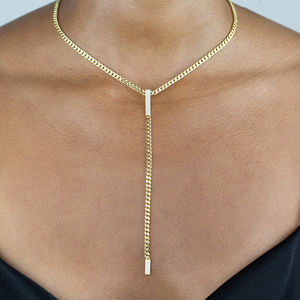 Fashion hip hop jewelry Women Chunky Miami 18k Gold diamond Necklaces brass Cuban Chain link bar necklace