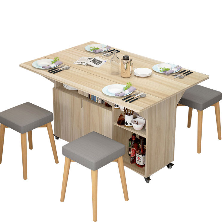 wholesale Modern wooden small dining room space saving folding banquet table set