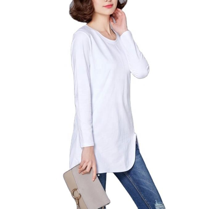 Ladies Fashion Clothing Wholesale Women's Cotton O-neck T shirt Ladies Plain T-shirt Dresses Long Sleeve Shirt For Ladies