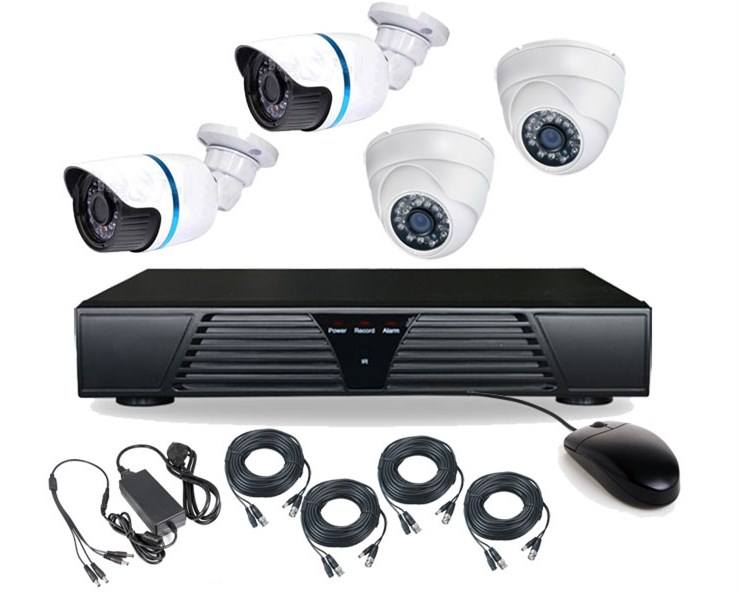 Hot Selling DVR Mobile Monitoring H.264 720P Security System 4 Camera CCTV Kit