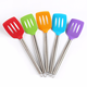 Kitchenware Tools Food Grade Silicone Slotted with Stainless Steel Handle