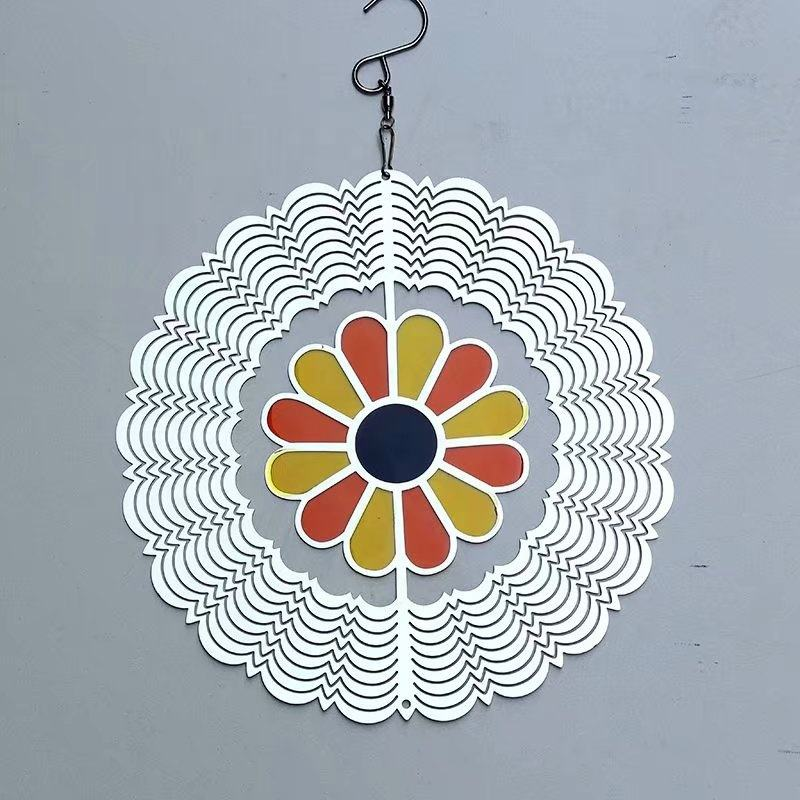 Wholesale Melody flower figure 3 D cosmo laser cut stainless steel metal wind spinner