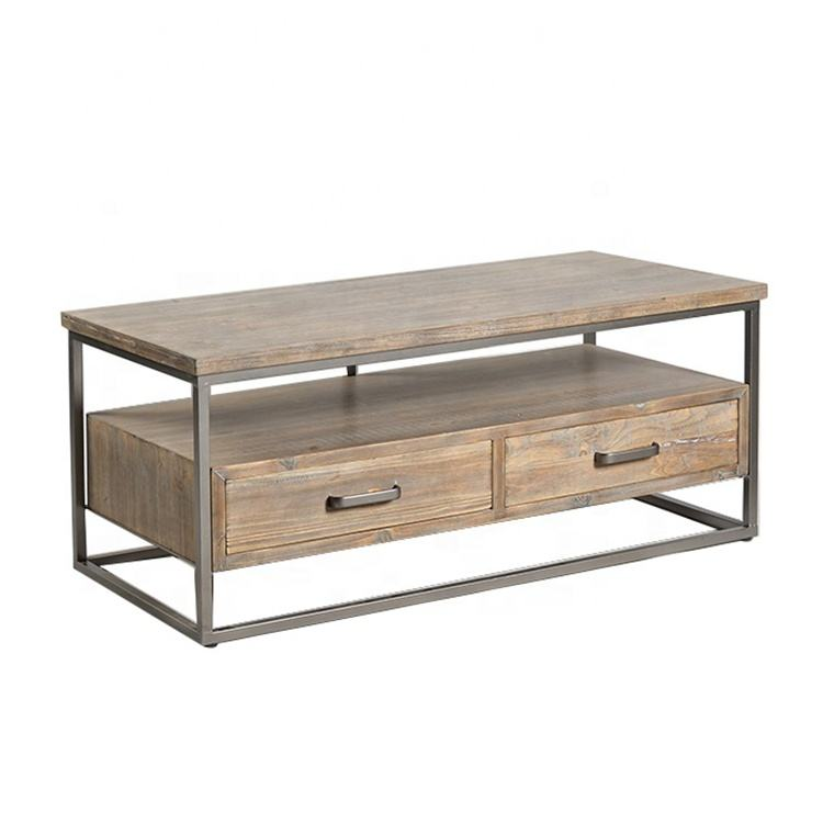 Mayco Wooden Center with Metal Framed Modern Style Table Designs for Living Room