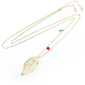 High quality exquisite brass material leaf necklace gold plated chains fashion pendant necklace