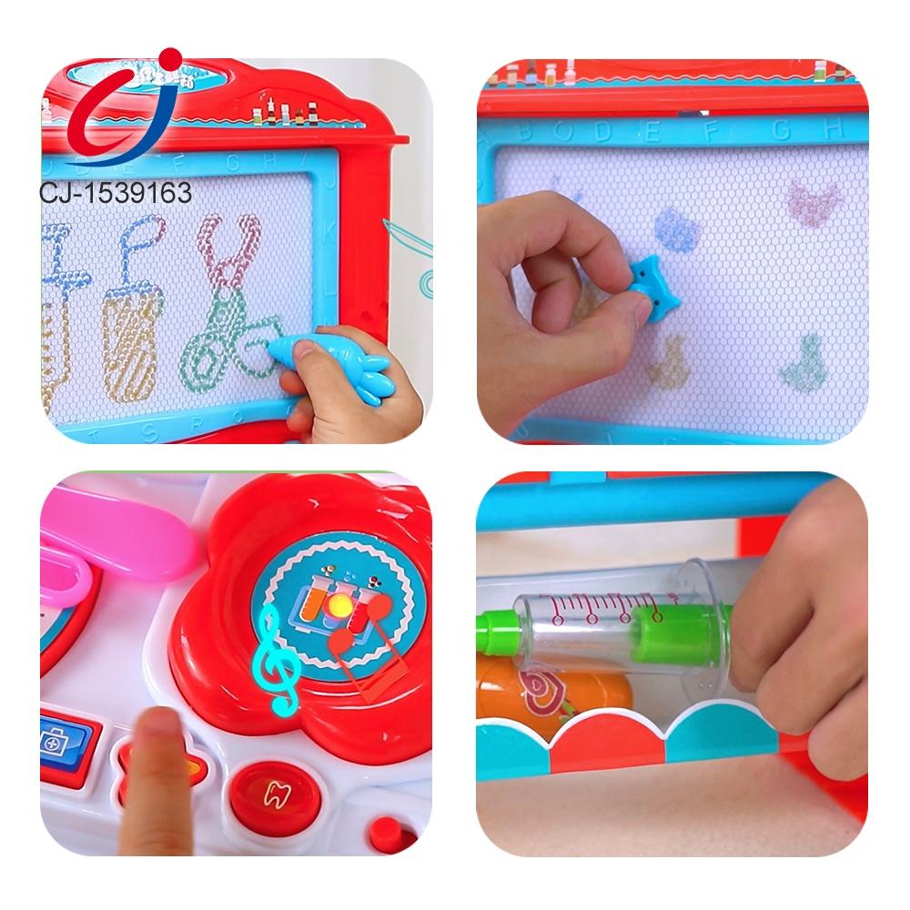 Painting Board Electronic Doctor Toys Set For Kids Plastic Medical Children With Light And Music Doctor Kit With Writing Board