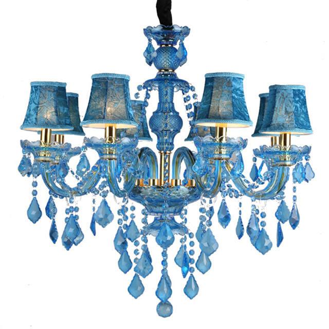 Blue Glass Hanging Chandeliers Pendant Energy Saving Chandelier Light For Coffee Shop Kids Room Dining Room Living Room Bedroom