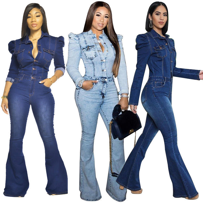 Factory wholesale fashion ladies denim pants rompers one piece casual wear conjoined clothes jumpsuit overalls jeans women