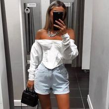 2019 puff sleeve off shoulder tops for women latest fashion blouse wholesale